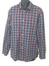 John Ashford Mens Blue, Burgundy & White Plaid Easy Care Button Up Shirt Size XL