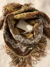 Missoni Women's Wool Scarf Brown Multicolored Fringe Made in Italy Large size