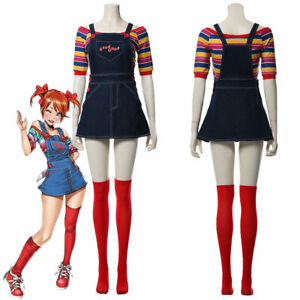 Women Child's Play Chucky Cosplay Costume Bib Pants Girl Dress Gift Halloween