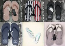NWT Hollister Women Girl Graphic Rubber Logo Flip Flops Slippers By Abercrombie