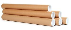 "Mailing Tubes with Caps - Premium Kraft Cardboard Tubes - 2"" x 22"" - Many Packs"