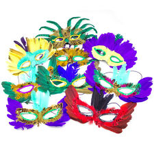 12 Feather Mardi Gras Masks Costume Party Masquarade Cosplay Venetian Ball Lot