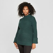 Isabel Maternity Size M Pullover Sweater Cuff Sleeves In Dark Green #G