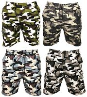 New Mens Army Camouflage Cargo Elasticated Shorts Combat Half Pants Bottoms Camo