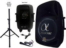 "PRO DJ Amplified 15"" Bluetooth Speaker FM Radio PA Karaoke System USB/SD & Stand"