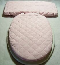 PINK White Gingham check quilted Elongated Toilet Seat Lid/Tank Lid Cover Set