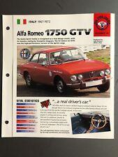 "1967-1972 Alfa Romeo 1750 GTV Coupe IMP ""Hot Cars"" Spec Sheet Folder Brochure"