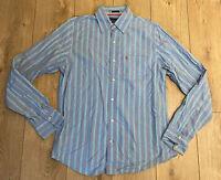 Abercrombie & Fitch Men's Shirt Blue Striped Large 100% Cotton