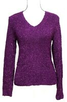 Chicos Women's Size 0 Knit Sweater Top V-Neck Long Sleeve Purple
