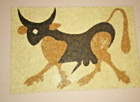 Vintage Tom Tru Bull Seed Painting Post Modern Cow Art Modernist Wall Hanging