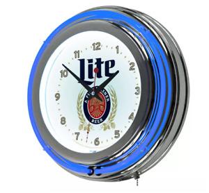 """14"""" Retro Chrome Neon Light Wall Clock Miller Lite Beer Bar Game Room Lamp Decor"""