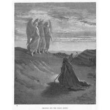 ABRAHAM AND THE THREE ANGELS Gustave Dore - Antique Bible Print c1880