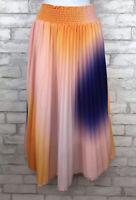 WD NY Watercolor Tie Dye Pink Orange Purple Pleated Midi Skirt Lined Womens L