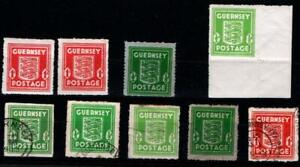 GUERNSEY. 1941-44 MISC USED & MOUNTED MINT .(9).