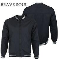 Mens Brave Soul Lightweight Contrast Varsity Collar Summer Bomber Jacket Coat
