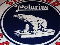 """VINTAGE STANDARD POLARINE MOTOR OIL + BEAR 11 3/4"""" PORCELAIN METAL GASOLINE SIGN"""