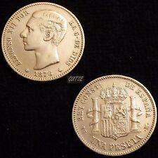 *GUTSE*219-ALFONSO XII, 1 PESETA 1876*18-76, MADRID DE M, EBC-