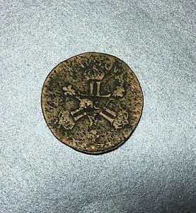 SIX DENIERS 1710 DARDENNES LOUIS XV AIX EN PROVENCE / FRANCE MONNAIE EN CUIVRE.