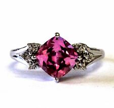NEW 10k white gold .005ct SI2 H created pink Topaz diamond ring 3.5g estate