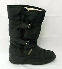 Tecnica Ski Snow Boots Black Nylon Faux Fur Pile Lined Rubber Sole size 36  5.5