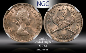1962 NEW ZEALAND 3 PENCE NGC MS65 ONLY 9 GRADED HIGHER