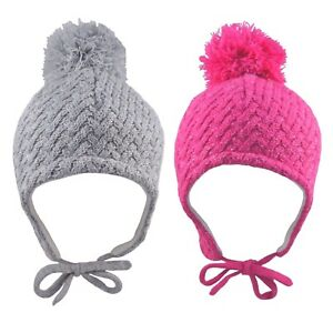 Baby Pom Pom Hat Sparkly Winter Knitted Warm Ear Flaps Chin Tie Girls 6-12 12-18