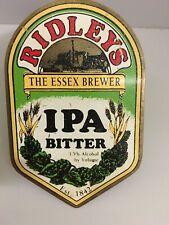RIDLEYS The Essex Brewer IPA BITTER Shield Beer Tap Badge Face Plate Brass