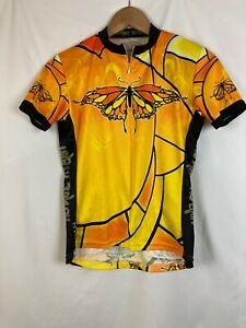 Primal Biking Clycling Womens Shirt Small Orange Butterfly Back Pockets