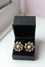 Fab Vtg 60s good size 14ct solid Rose Gold Pearl Clip on Earrings Flower 11gram