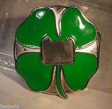 Large Irish Shamrock Belt Buckle Ireland Four leaf Clover to attach to own belt