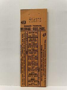 Brisbane Tramways Balmoral Oriel Park 4D Return Ticket Unused