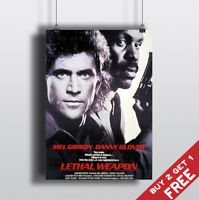 LETHAL WEAPON *1987 MOVIE POSTER A3 A4 Classic Vintage Film Art Print MEL GIBSON