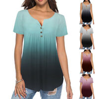 Tops Blouse Women Gradient Loose Tunic Casual V Neck T Shirt Short Sleeve Summer