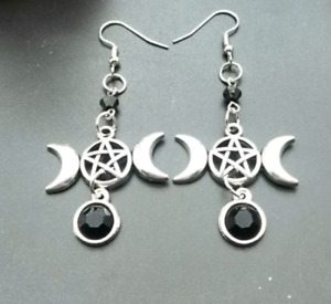 TRIPLE MOON Drop Earrings Gothic Silver Crescent Pentacle Wicca Goddess Black
