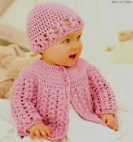 (729) Crochet Pattern for Girls Jacket and Hat, 16-26'', 0-7yrs