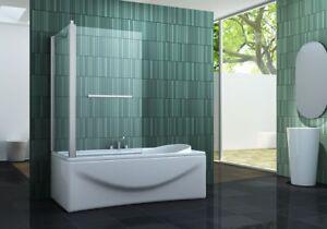 Badewannen Faltwand INTREXO 80 x 140 cm Duschwand Duschabtrennung Duschwand