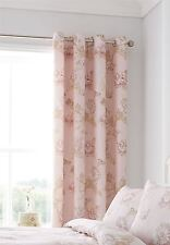 """FLORAL CHRYSANTHEMUMS PASTEL PINK LINED 66""""X72""""-168X183CM RING TOP CURTAINS"""
