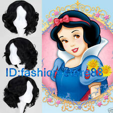 Disney Princess Snow White Short Curly Wavy Wigs Hair Cosplay Party Anime wig