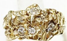 Vtg 14K Yellow Gold Nugget 6 Natural Diamond .25ct Band 6 grams Ring Size 7.75