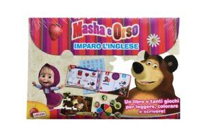 Cartelletta Con Libro Imparo Inglese E Tanti Giochi E Puzzle Masha E Orso Nuovo