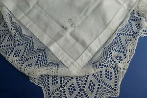 Superb Embroidered Broad Crochet Lace Border White Linen Tablecloth