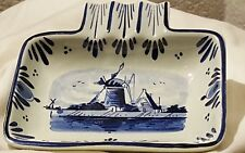 "Deft Blue Jewelry Coin Holder Soap Trinket Dish Windmill 4"" X 5 "" Hand painted"