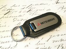 MITSUBISHI Key Ring Etched and infilled On Leather