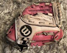 "Wilson Girls Fastpitch SOFTBALL Glove MONSTA WEB 11"" RHT pink and Gray A440"