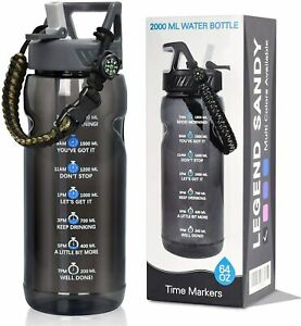 Motivational Water Bottle BPA Free 2.2L/64oz Jug with Straw & Time Marker