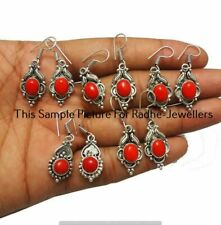 Coral 5 Pair Wholesale Lots 925 Sterling Silver Plated Earrings Ff-237