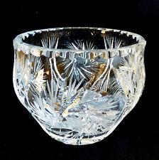 """VTG cut Crystal round bowl vase 4.25"""" pinwheel design"""
