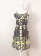 NWT Ellen Tracy Graphic Printed Ruffle Dress SizeS Elastic Waist Gray Yellow