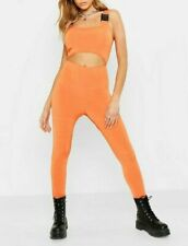 BOOHOO Festival Buckle Cut Out Catsuit - Tangerine (BOO8)