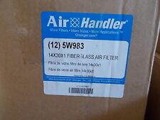 NEW Air Handler 5W983 14x30x1 MERV 5 Fiberglass Air Filter, Case of 12